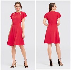 Draper James Red Solid Flutter Sleeve Dress. Size 4.